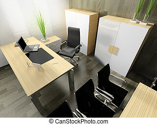 moderno, interior, de, oficina