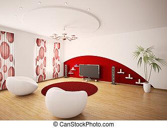 moderno, interior, de, sala, 3d, render