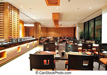 moderno, interior del restaurante, en, noche, iluminación,...