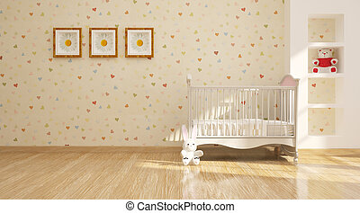 moderno, interior, mínimo, guardería infantil