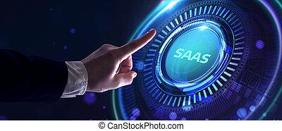 moderno, internet, concept., software, servicio, establecimiento de una red, tecnología, saa, s., empresa / negocio