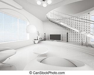 moderno, interno, di, bianco, soggiorno, 3d, render