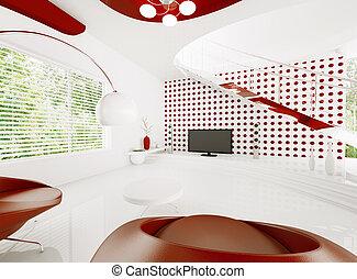moderno, interno, di, soggiorno, 3d, render
