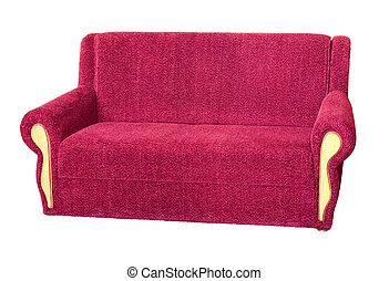 moderno, isolato, rosso, divano