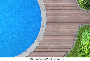 moderno, jardín, arquitectura, con, piscina