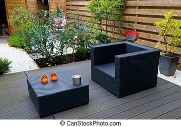 moderno, jardín