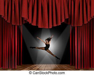 moderno, jazz, calle, bailarín, saltar
