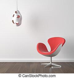 moderno, lámpara, diseño, interior, silla, rojo