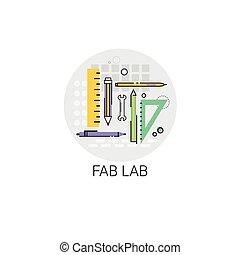 moderno, laboratorio, fab, dispositivo, tecnología, icono
