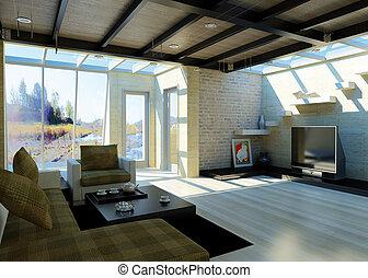 moderno, livingroom, con, grande, windows.