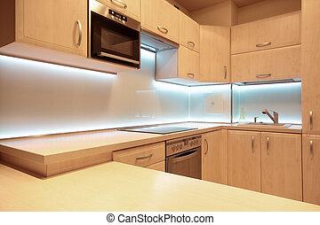 moderno, lujo, cocina, con, blanco, fue adelante,...