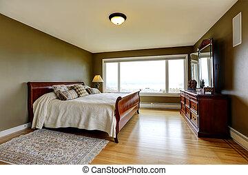moderno, lujo, dormitorio, con, cama, tocador, y, nightstand.