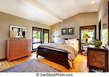 moderno, lujo, dormitorio, con, cama, tocador, y,...