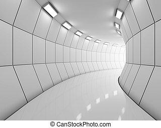 moderno, lungo, corridoio