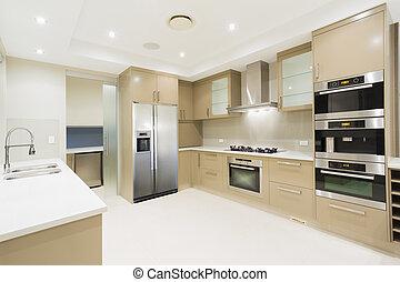 moderno, lussuoso, casa nuova, bianco, cucina