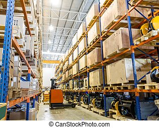 moderno, magazzino, con, forklifts