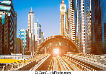 moderno, metro, línea, en, dubai