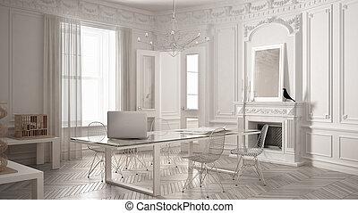 Ufficio Classico Moderno : Minimalista caminetto. minimalista italia foto immagine