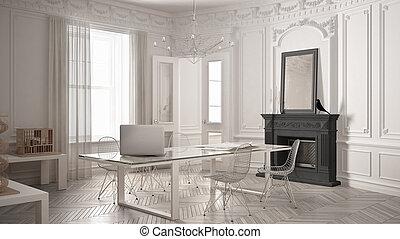 Ufficio Bianco E Grigio : Minimalista stanza classico vendemmia vita moderna grigio