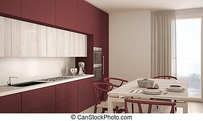 moderno, minimo, rosso, cucina, con, pavimento legno, classico, disegno interno