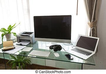 moderno, ministerio del interior, con, computadora, y,...
