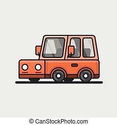 moderno, minivan, coche, icon., plano, design.