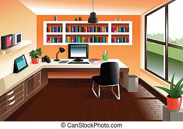 moderno, mirar, espacio de trabajo, escritorio