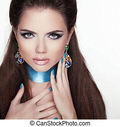 moderno, moda, jewelry., belleza, moda, mujer, portrait.