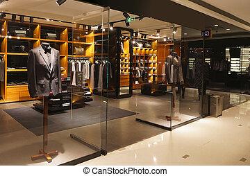 moderno, moda, tienda, escaparate, y, vitrina