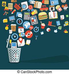 moderno, moderno, plano, diseño, iconos, iconos, yendo, en, un, basura, cesta