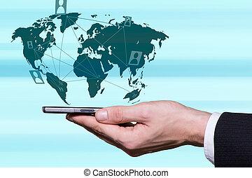 moderno, modo, di, comunicazione
