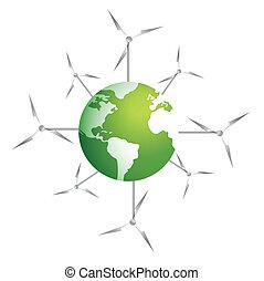 moderno, molinos de viento, en, un, planeta verde