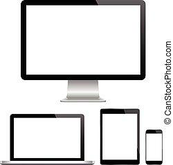 moderno, monitor, computadora, computador portatil, p