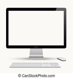 moderno, monitor, con, tastiera, e, mouse elaboratore