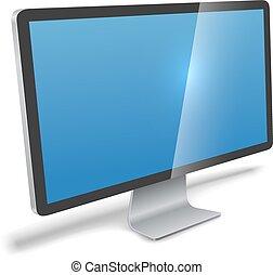 moderno, monitor, realistico, vettore, illustration.