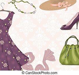 moderno, mujer, ropa, plano de fondo, para, compras, o, comercio al por menor