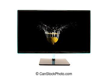 moderno, nero, monitor computer, con, movimento, schizzo