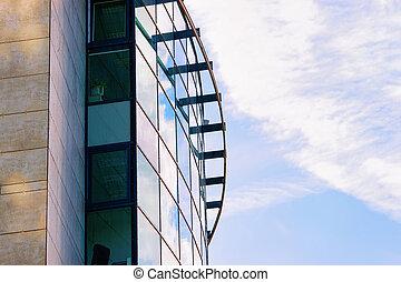 moderno, nuevo, negocio corporativo, edificio de oficinas, concepto, y, espacio de copia