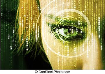 moderno, occhio donna, matrice, cyber