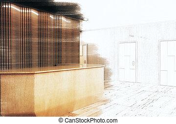 moderno, oficina, con, recepción