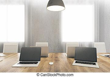 moderno, oficina, con, vacío, cuadernos
