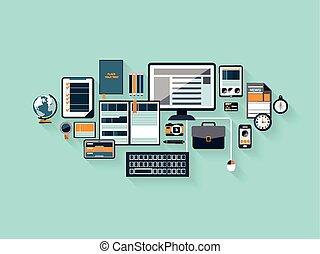 moderno, oficina, espacio de trabajo, en, plano, diseño