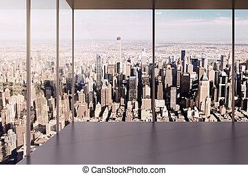 moderno, oficina vacía, interior, con, hermoso, vista
