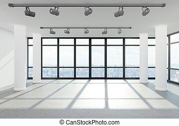 moderno, oficina vacía, interior