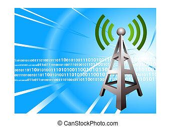 moderno, onda, radio, plano de fondo, digital, torre