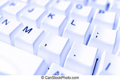 moderno, ordenador teclado, con, blanco, botones