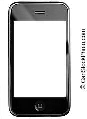 moderno, pantalla del tacto, teléfono