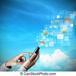 moderno, pantalla del tacto, teléfono móvil