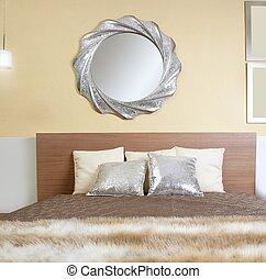 moderno, pelliccia, coperta, camera letto, specchio, finto,...