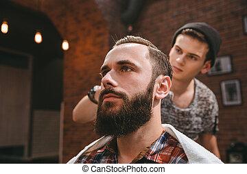 moderno, pelo, cliente, barbería, cardadura, peluquero, ...